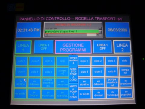 Computerized control panel for the management of the foodstuff tank cleaning plant